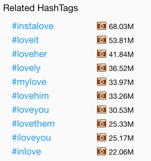love top hashtag