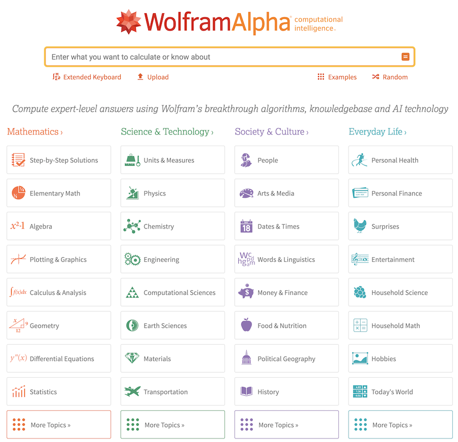 categorie principali wolfram alpha